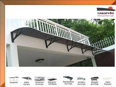 Outdoor Awning Patio Cover Canopy Hamilton 6000 x1200mm Black w/tinted Cover
