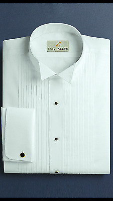 "Neil Allyn 100% Cotton French Cuff Wing Collar Tuxedo Shirt 1/4"" Pleat (choose)"