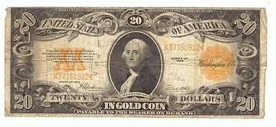 1922 US Large Size $20 Gold Certificate Horse Blanket Currency Note! USC246