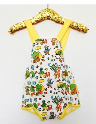 Vintage Baby 70s NOS Little Bird Style Animal Yellow Romper 18 M
