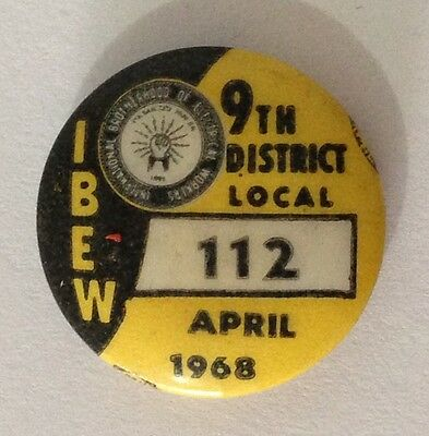 1968 April Rare Brotherhood Of Electrical Workers Union 112 Badge Pin (N10)