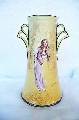 "Vintage Royal Doulton Series Ware Tall Two Handle Vase : ""Ophelia"" C1902-1922"