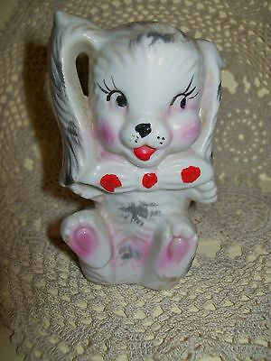VINTAGE c.1950s CERAMIC KITSCH RABBIT w/polka dot tie PEPPER or SALT SHAKER 10cm