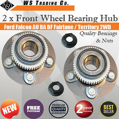 2 Ford Falcon AU/BA/BF Territory 2WD Front Wheel Bearing Hub & Nut