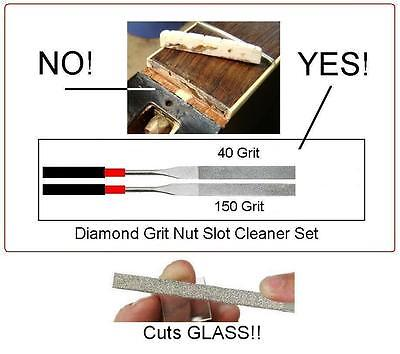 USA MADE GuitarTechs DIAMOND ABRASIVE FILE SET for Guitar Nut Slot Cleaning