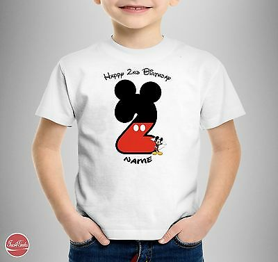 Mickey Mouse Personalised T-SHIRT Girls Kids Happy Birthday 1st 2nd 3rd 4th 5th