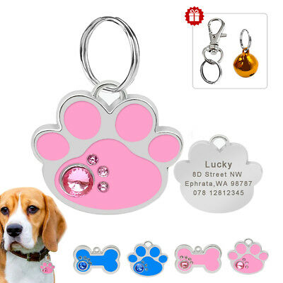 Personalized Dog Cat Tag Engraved ID Name Free Puppy Collar Tags Paw/Bone Shape