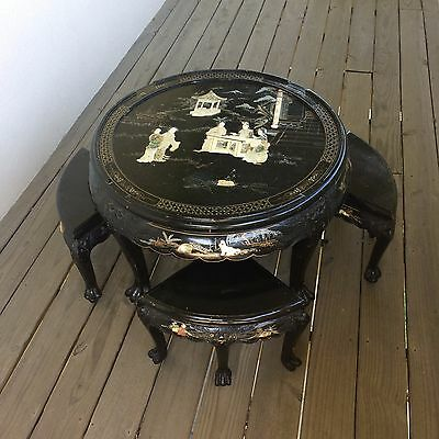 Antique Asian Black Lacquer Mother of Pearl Coffee Table 4 Chairs