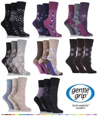 3 Pairs Ladies Gentle Grip Socks NON ELASTIC  Soft Cotton Honeycomb Top Size 4-8