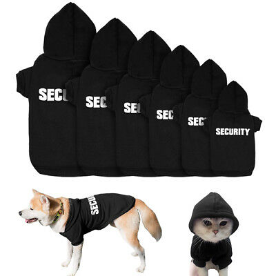 SECURITY Dog Hoodie Clothes Pet Puppy Cat Coats Jacket Sweatshirt for Dogs S M L