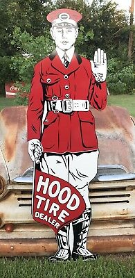 """Antique Vintage Old Style Hood Tires Sign Towering 71""""!"""