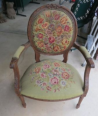 Antique Needlepoint Side or Arm Chair Oak