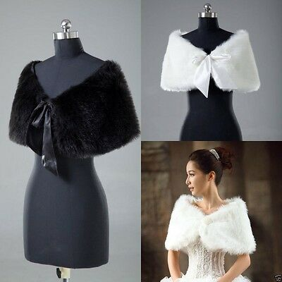 New black or Ivory Faux Fur Wedding Jacket Wrap Shrug Bolero Bridal Shawl Cape
