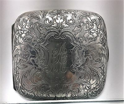 William B. Kerr Sterling Silver Heavily Chased Cigarette / Card Case