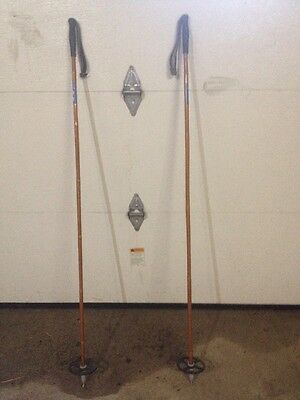 Mint Condition Polished Blue Cross Country Skis With Polished Wood Poles