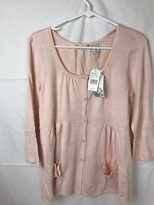 NWT Tomorrow's Mother Maternity Cardigan 3/4 Sleeve Sweater Pink Buttons Large