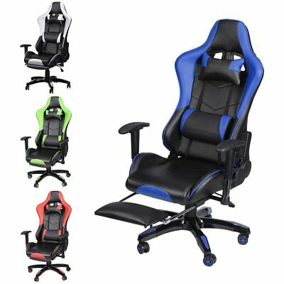 Computer Racing Gaming Sports Lift Chair Executive Recliner Foot Arm Head Rest