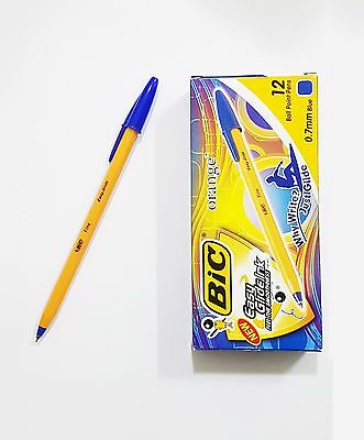 [BIC] BLUE Orange Fine 0.7mm Ball point pen  Easy Glide Ink 1 BOX 12 PCS - NEW