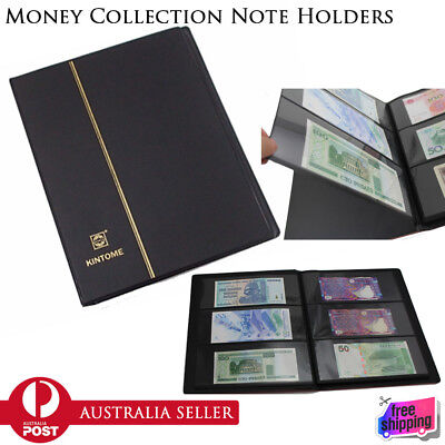 Paper Money Note Holders Collection Collecting Storage Pockets Album Book BLACK