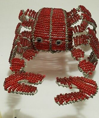 BeadWorx 7in Red Glass Bead Wire Crab Beach House Indoor Outdoor Decor