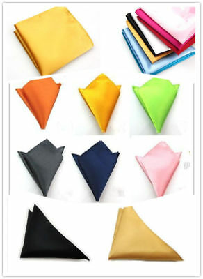 Men Silk Satin Pocket Square Hankerchief Hanky Plain Solid Color Wed Party