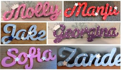 Personalised wooden script name plaque - door, toy box, wall - Birth Christening