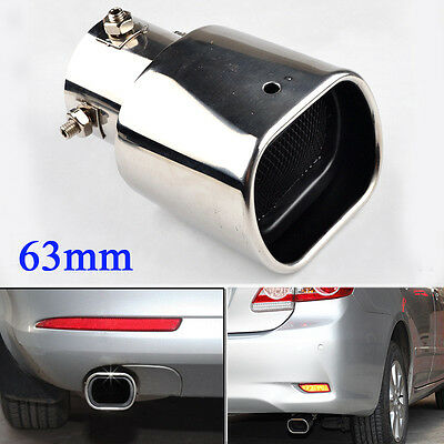 Universal 63mm Chrome Stainless Steel Rear Straight Exhaust Tail Muffler Pipe