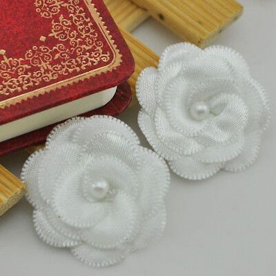 20pcs White Pearl Flowers Satin Ribbon Hair Bows Wedding Applique Sewing Craft