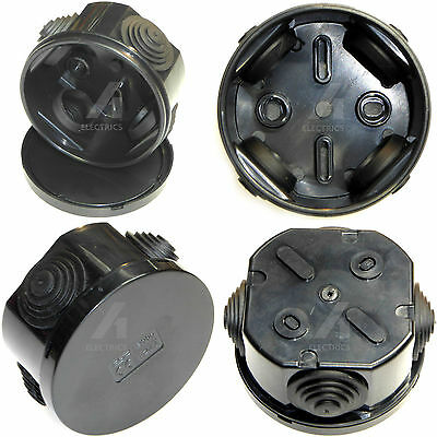 Outdoor Junction Box 65mm x 35mm Black Weatherproof Garden Pond Lighting Cable