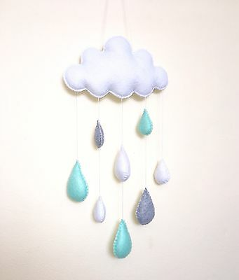 Cloud raindrops nursery mobile wall hanging decoration baby shower gift mint gre