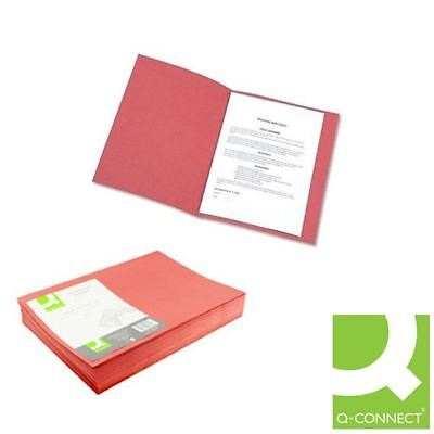 Q-Connect Red Square Cut Folder Lightweight 180gsm Foolscap [KF26028]