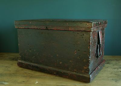 Antique seaman's / engineers chest, blanket box. Stunning Oxblood colour.