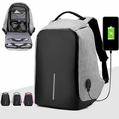 Anti-theft Business Bag Mens Womens Laptop Notebook Backpack + USB Charging Port