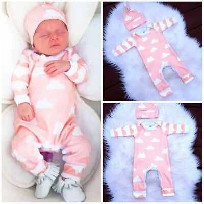 Infant Baby Kids Boy Girl Infant Babygrow Sleepsuit Romper Jumpsuit Pyjamas hat
