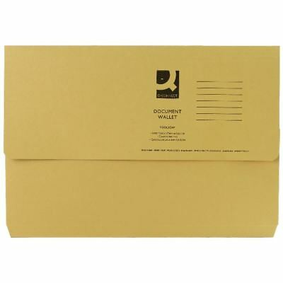Q-Connect Foolscap Yellow Document Wallet Pack of 50 KF23017 [KF23017]
