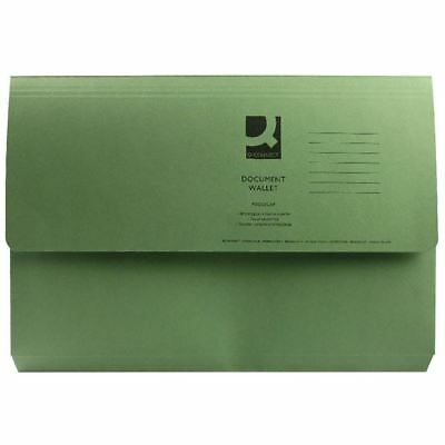 Q-Connect Foolscap Green Document Wallet Pack of 50 KF23012 [KF23012]