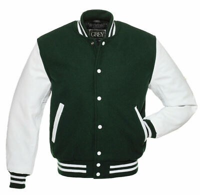 Varsity Jacket (Dark Green/White) Unique & Fashionable Wool Body& Leather arms