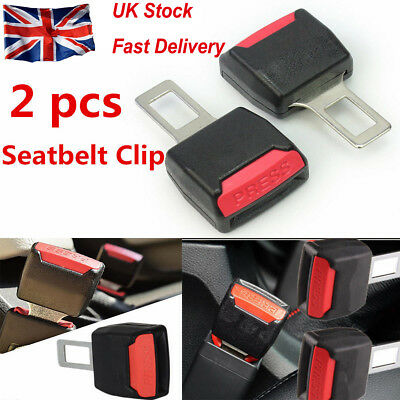 2 X Universal Car Safety Security Seat Belt Clip Extension Extender Buckle Black