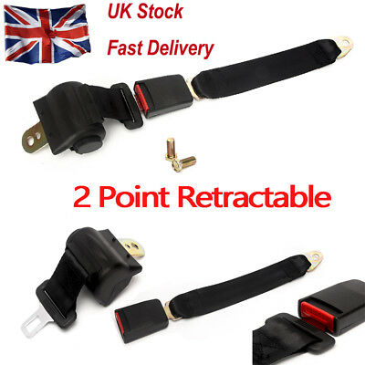 Universal 2 Point Retractable Car Auto Seat Belt  Extension Safety Strap Buckle
