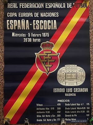 UEFA Euro 1976 qualifying. Spain, 1 - Scotland, 1. official cartel