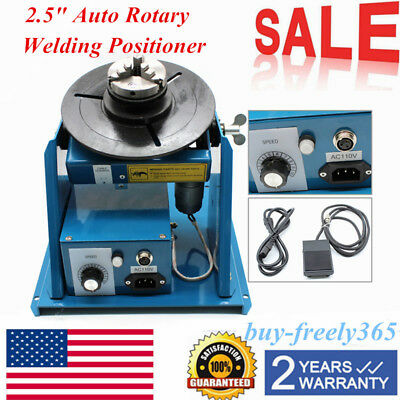 "Rotary Welding Positioner Turntable Table 2.5"" 3 Jaw Lathe Chuck 2-10r/min 110v"