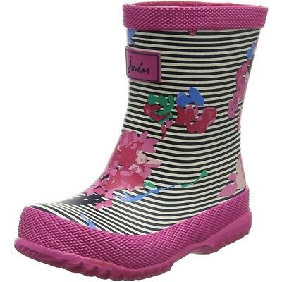 Joules Printed Welly Stripe Floral Pink Rubber Baby Wellingtons Boots