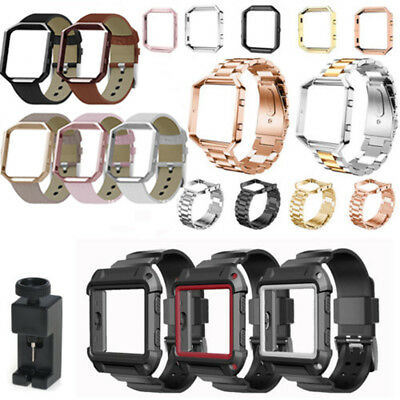 Leather/Stainless Steel /Silicone Band Bracelet Frame For Fitbit Blaze Wristband