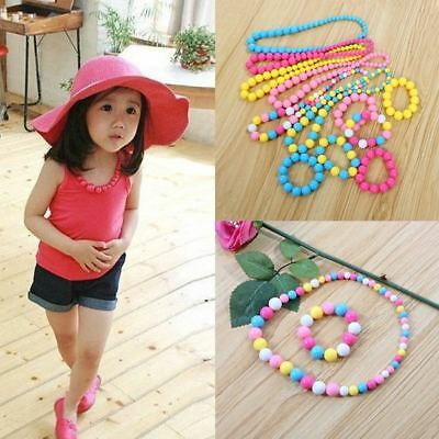 Stylish Toddlers Girl Cartoon Colorful/Solid Bead Necklace Bracelet Jewelry Gift