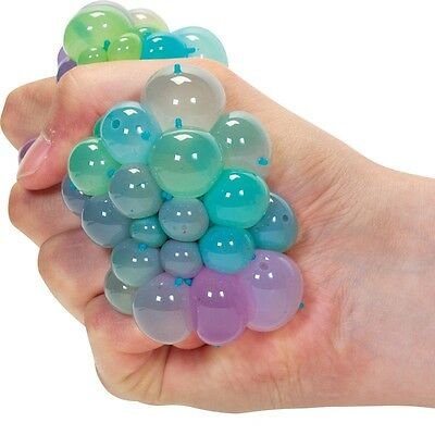 Rainbow Squishy Mesh Ball - 17921 Stress Reliever Squeeze Toy Colourful Slime