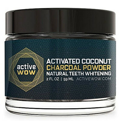 Active Wow Activated Coconut Charcoal Powder Natural Teeth Whitening 59Ml