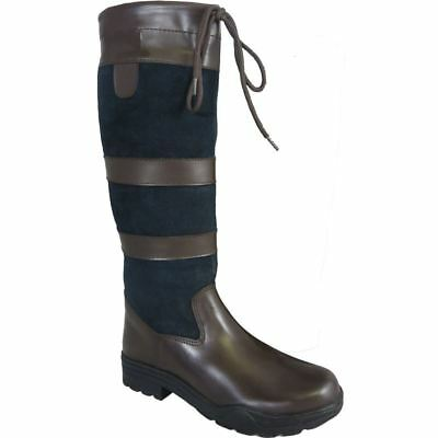 Ladies Mens Long Leather Water Resistant Country Walking Horse Riding Tall Boots
