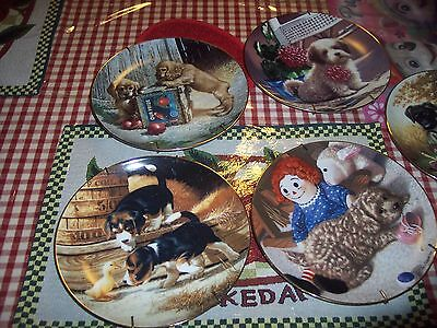 (5) PUPPY PLAYTIME COLLECTION PLATES by Jim Lamb Plate Collection
