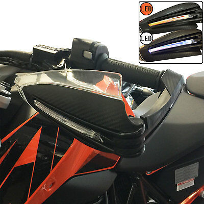 Motorcycle Universal X-Tarmac Road Motorcycle Handguards LED Lights Carbon Look