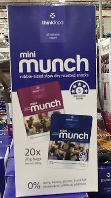 2xThinkfood Mini Munch Variety Pack 20 x 20g - Almond Cranberry /Blueberry